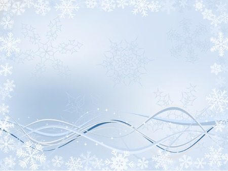Winter Background With Different Snowflakes And Wavy Ribbons