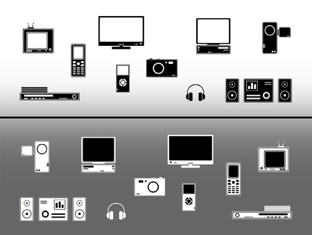 Elektronische apparaten. Technologie en communicatie designelementen