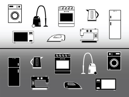 Electric devices. Home appliance design elements Stock Vector - 5972121