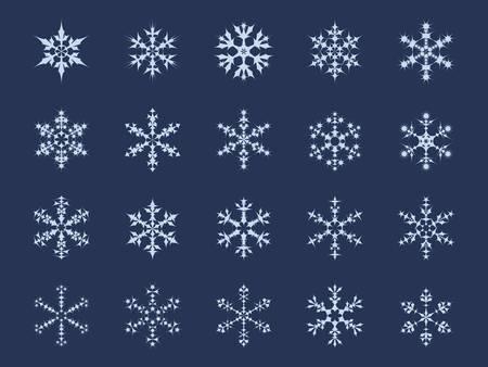 Conjunto de icono de 20 diferentes copos de nieve