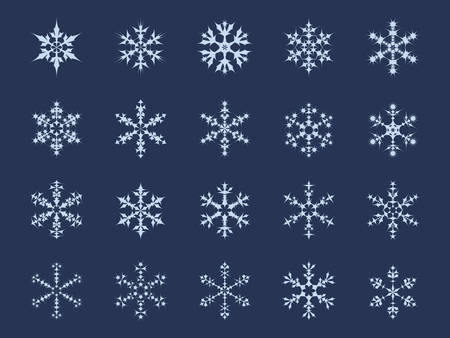 Icon Set of 20 Different Snowflakes