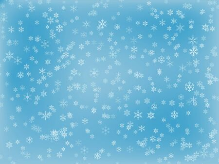 A light blue snowflake background with different snowflakes Stock Photo