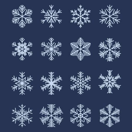 Conjunto de 16 diferentes copos de nieve para dise�o