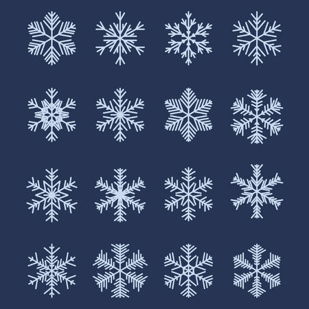 Set of 16 Different Snowflakes For Design