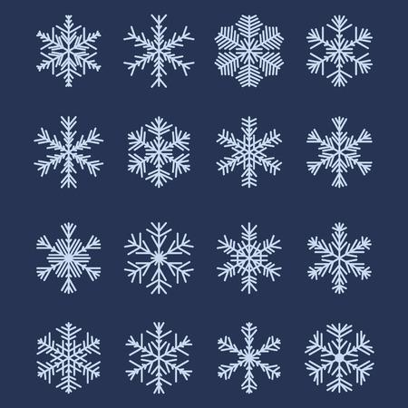 Conjunto de 16 diferentes copos de nieve para el dise�o Vectores