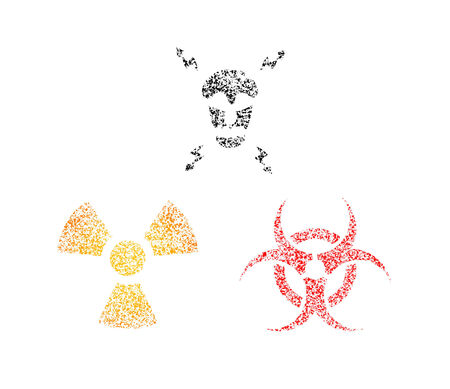 Spray warning symbols. High voltage. Toxicity. Biohazard Illustration