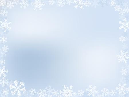 Marco de invierno de luz-azul con diferentes de copos de nieve