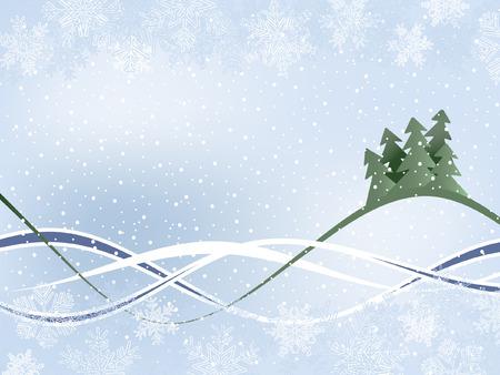 Fondo de invierno con fur-arbolado Y Wavy Ribbons Vectores