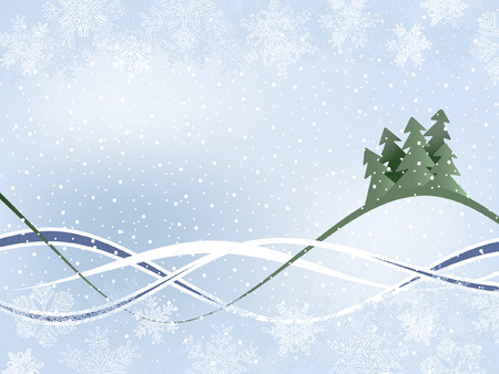 Winter Background With Fur-Trees And Wavy Ribbons Vector