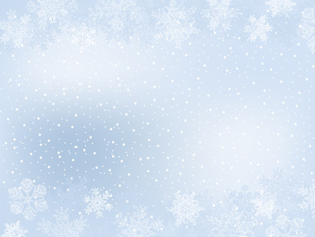 Light-Blue Winter Frame With Different Snowflakes