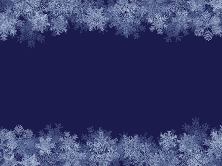 Azul de invierno de marco, con diferentes de copos de nieve