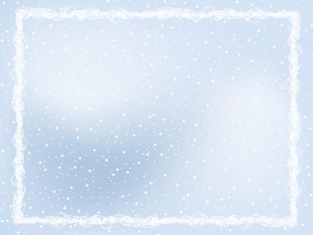 Light-Blue Winter Frame on Snow-Covered Background Vector
