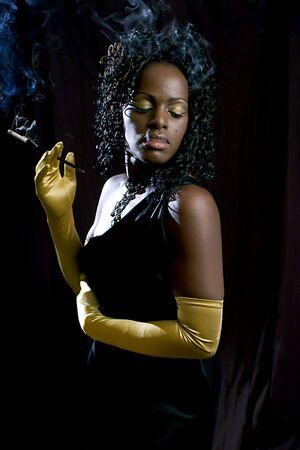 Smoking Diva, Eyes Closed photo