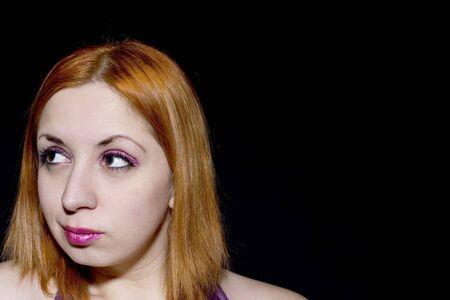 glitter makeup: Tinto Joven jefe de maquillaje con brillo (copia espacio)
