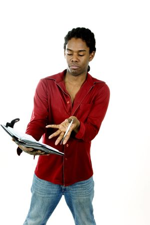 Young man with day planner