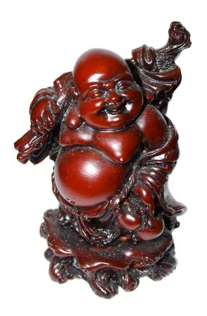laughing Buddha isolated on white background  photo
