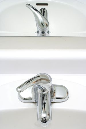 gamma: American wash-bowl with mirror in white gamma  Stock Photo