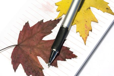 pen with writing-pad and fall golden leafs Stock Photo