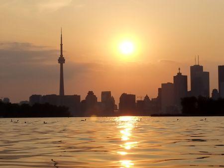 sunset lake: Sunset Lake view of downtown Toronto