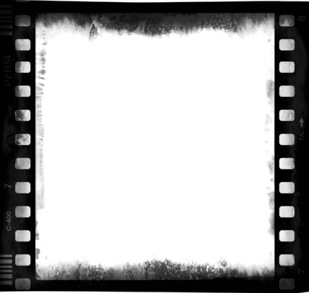 film strip with emulsion decay and corrosion and empty central part 1