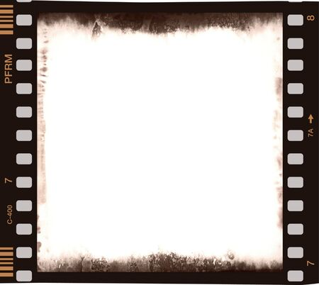 film strip with emulsion decay and corrosion and empty central part 2
