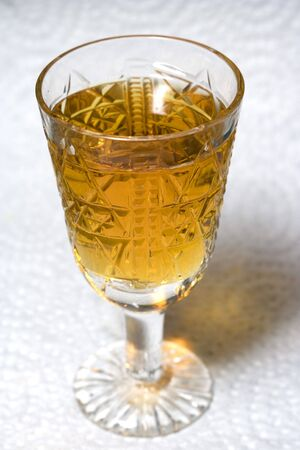 Crystal liqueur-glass with cognac