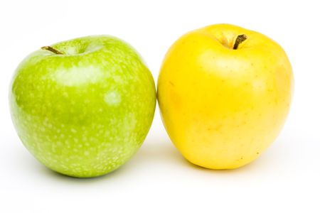 Fresh green and yellow apples at white background Stock Photo