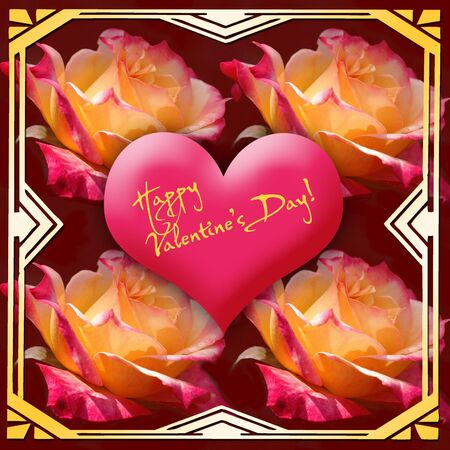 artdeco: Valentines Day Greeting Heart with art-deco frame and roses Stock Photo