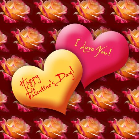 artdeco: Valentines Day Greeting Heart with background pattern of roses Stock Photo