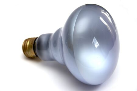 Blue colored daylight light bulb at white background