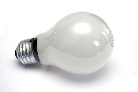 Mate white light bulb at white background
