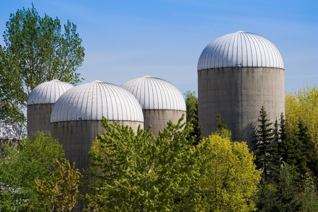 superstructure: Group of agricultural urban futuristic style towers at the Ontario island