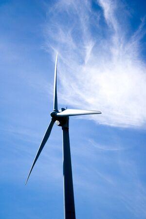 Wind Turbine Of Toronto Hydro Corporation Over Rich Blue Sky Springtime Scenic. Toronto Ontario Canada