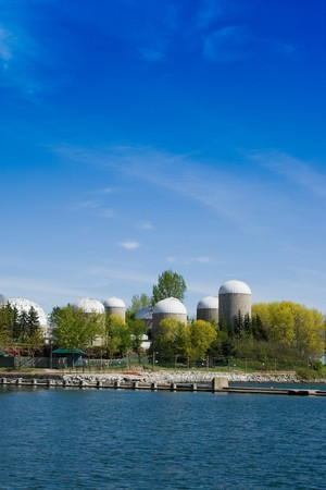 Group of agricultural urban futuristic style towers at the Ontario island
