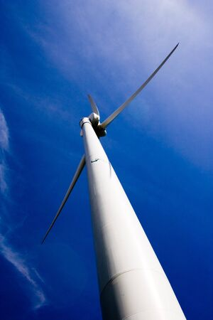 Wind Turbine Of Toronto Hydro Corporation Over Rich Blue Sky Springtime Scenic. Toronto Ontario Canada