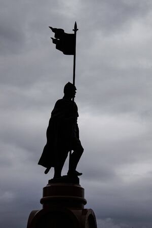 Volgograd, Russia - May 9, 2011: silhouette of a seven-meter monument to Alexander Nevsky on the Square of the Fallen Fighters in cloudy weather