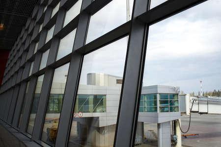 Volgograd, Russia - May 08, 2011: airport windows overlooking the passenger corridor