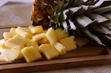 chunks: Cut Pineapple Chunks on Cutting Board