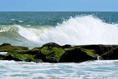 big waves: Big Waves Against Jetty Stock Photo