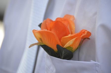리셉션 전에 신랑 꽃의 근접 촬영 스톡 콘텐츠