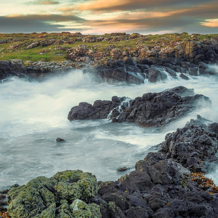 Sea crashes against the rocks, Northern Ireland, Coast