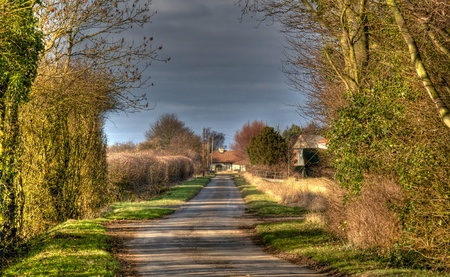 A idylic country lane in Lincolnshire uk