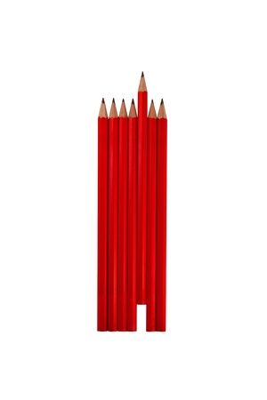 Red Pencils with one standing out from the crowd photo
