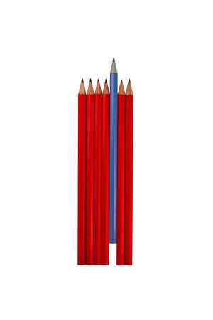 A collections of pencils, with one unique blue one. photo