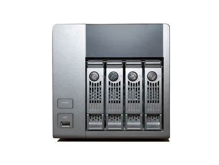 4 bay NAS Drive isolated on a white background photo