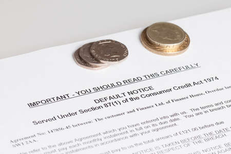 Default Notice with money, (no genuine customer info, used) photo