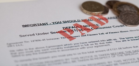 default Notice with money, (no genuine customer info, used) Stock Photo - 13031461