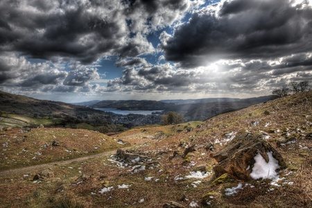 View from mountain overlooking ambleside and lake windermere photo