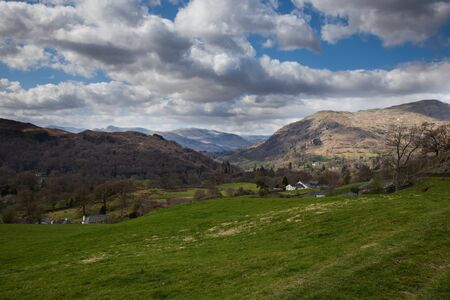 View from mountains above ambleside with sky scape photo