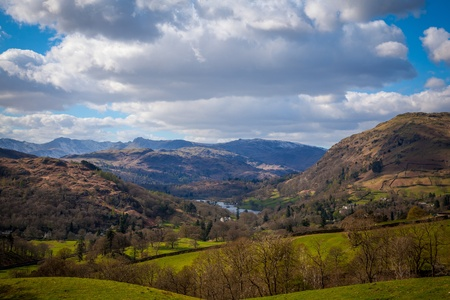 Counrtyside around ambleside with mountains and lake windermere